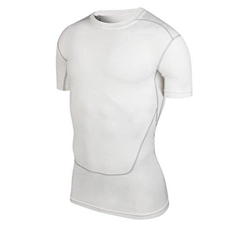 qutool Tight da uomo Sport Top Allenamento Fitness magliette a maniche corte, Uomo, bianco, XXL