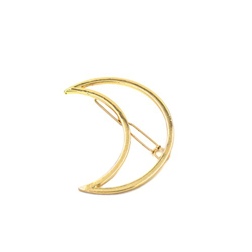 Generic Gold Moon Girl Punk Hollow Out Moon Triangle Hair Clip Hairpin Clamps Gold Tone