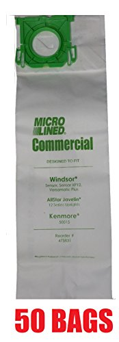 50 Sebo, Windsor Sensor Micro-Lined Commercial Upright Vacuum Bags, Fits 5093AM, 5300. 50 Pack. (Sebo X Vacuum Bags compare prices)