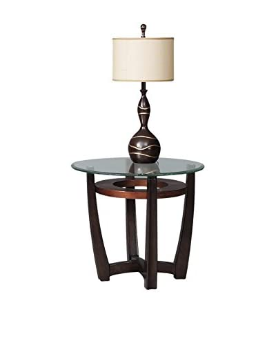 Bassett Mirror Company Elation Round End Table, Copper/Espresso