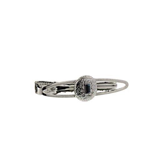 """Silver Tone Tone Round Sapphire Tie Clip 2"""" Men'S Jewelry W/Gift Box"""