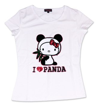 Hello Kitty Adult T-Shirt (White with Panda) (Size: S-M)