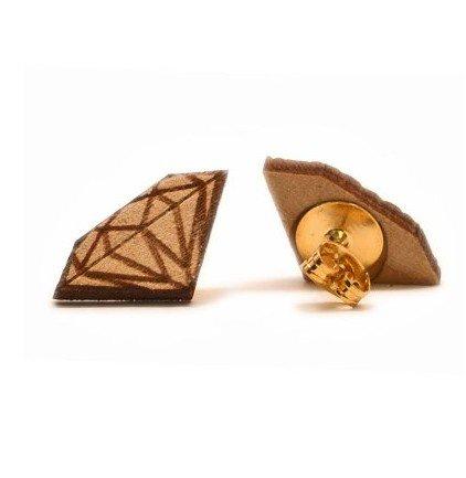 New Natural Wooden Diamond Stud Earrings Stud Earrings Good Quality,Good Wood Earring(Wp-H160)