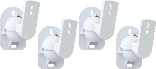 TechSol 4 Pack of White Universal Speaker Wall Mount brackets