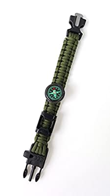 Off-Grid Gear - Multifuntional Survival Paracord Bracelet with Updated Waterproof Compass, Knife/Scraper tool, Flint & Bottle Opener - Super Strong 550 Pound Parachute Paracord Materials - 4 Color Choices
