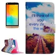 Words Hang over the Track Pattern Horizontal Flip Leather Case with Holder Card Slots Wallet for LG L Prime / D337