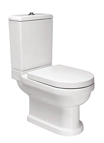 WC-Kombination Vintage   Stand-WC   Inklusive Spülkasten und WC-Sitz mit Soft-Close-Absenkautomatik   Tiefspüler   Abgang waagerecht   Weiß