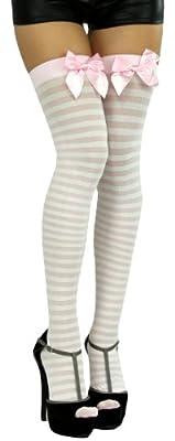 ToBeInStyle Women's Horizontal Striped Thigh Hi Stocking w/ Bow