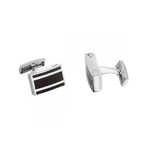 Stainless Steel Cuff Links with Black Enamel