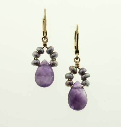 Amaro Jewelry Studio 'Rainy Skies' Collection 24K Yellow Plated Dangle Earrings Accented with Tear Drop, Crafted with Amethyst, Sodalite, Lapis Lazuli, Lavender, Blue Agate, Purple Jade, Blue Abalone, Blue Cat's Eye and Swarovski Crystals