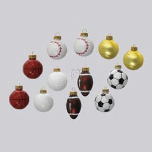 Kurt Adler Glass Sports Ball Ornament Set OF 12