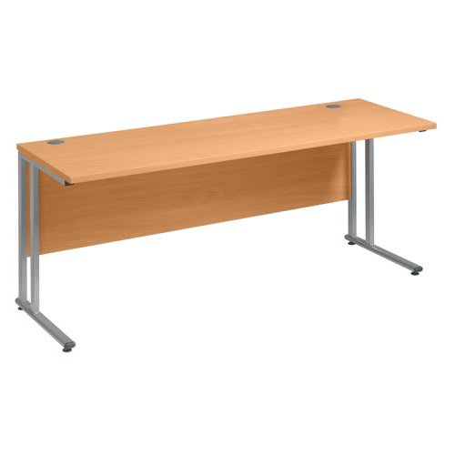 Vistro Slimline Rectangular Desk Silver Cantilever Leg Style Office Desk Steel Cantilever