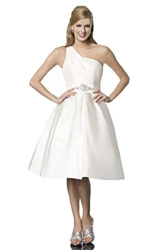 Everbeauty One Shoudler Tea Lengh Wedding Dress Short Wedding Gown Crystal Belt Ivory Size 18
