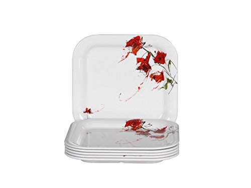 "Iveo Fancy Rose Fantastic Square 8"" Quarter Plate"