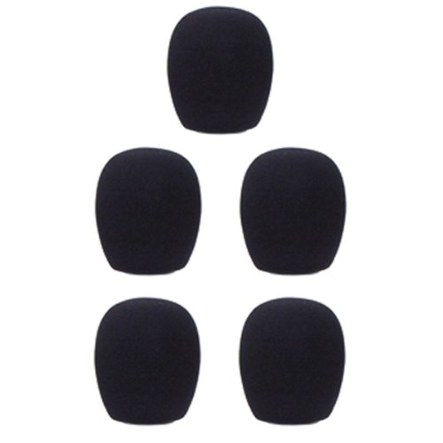 Gls Audio Mic Windscreens - Black Microphone Windscreen - Mike Wind Screen Fits All Standard Size Ball-Type Mics - Black Wind Screens - 5 Pack