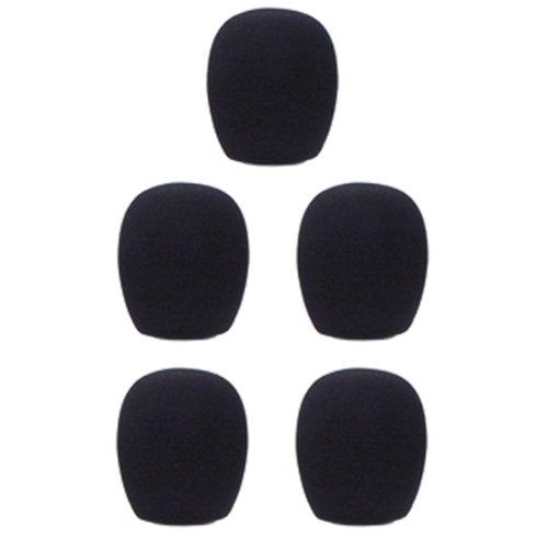 Gls Audio Mic Windscreens - Black Microphone Windscreen - Mike Wind Screen Fits All Standard Size Ball-Type Mics - Black Wind Screens - 5 Pack