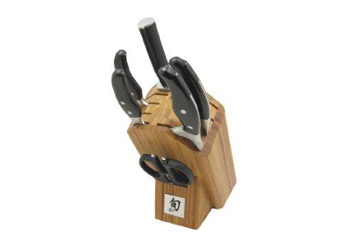 Shun Ken Onion 7-Piece Knife Set with Bamboo Block