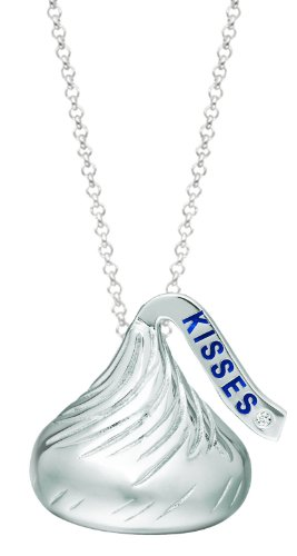 Sterling Silver Hershey's Kiss Pendant with Diamond Accent (.005ct) Including Hershey's Kisses Chocolate Tin - Valentine's Day Set - Gift with Purchase