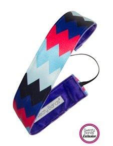 "Sweaty Bands - Chevron Shuffle - #1 Fitness Headband! (Blue Red Black 1.5"")"