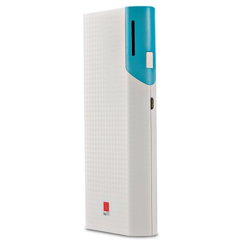 IBall 10000 Mah Portable Power Bank With Dual USB Port & Higher Safety Lightweight Power Battery - White / Blue - PB-10017