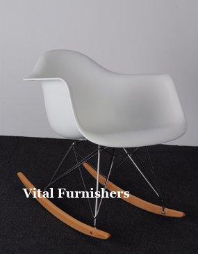 Vital Eames Style RAR lounge Rocking Chair White