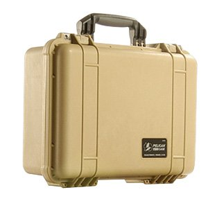 Pelican 1560 Watertight Hard Case with Cubed Foam Interior & Wheels - Dessert Tan