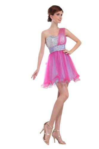 31lFUCXmauL Buy: Topwedding two tone Tulle One Shoulder Strap Sequined Graduation Dress
