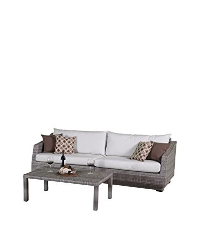 RST Brands Cannes 2-Piece Sofa & Coffee Table Set, Cream