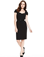 Petite V-Neck Panelled Crêpe Shift Dress with Bow Belt
