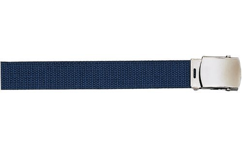 "Army Camouflage Solid Color Military Web Belt (Navy Blue Belt - Chrome Buckle, 54"")"