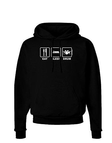 Tooloud Eat Sleep Drum Design Dark Hoodie Sweatshirt - Black - 3Xl