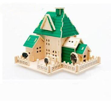 Thinkmax® 3-D Wooden Puzzle- Children And Adult'S Educational Building Blocks Puzzle Toy Happy House Model front-912353