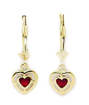14ct Yellow Gold January Birthstone Red3x3mm CZ Heart Drop Leverback Earrings - Measures 23x8mm