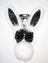 Black & White Ladies Bunny Ear Headband Set With Fur (Bunny Tail And Ears)