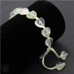 Natural Grape Stone & Pink Crystal Princess Heart Bracelet