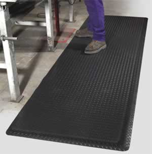 Antifatigue Traction Mat - Work Safety Floormat - AirLift Diamond Plus - 03' x 05' - 5/8 Thick - Black PVC Diamond Tread Surface acapulco write
