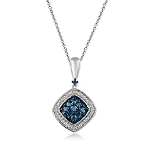 Jewelili 0.20 cttw Blue and White Diamond Cushion Framed Pendant in Sterling Silver