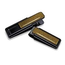 M-Clip Ultralight V Black Anodized With Gold Herringbone Inlay Money Clip (UV-BKA-HBGD)