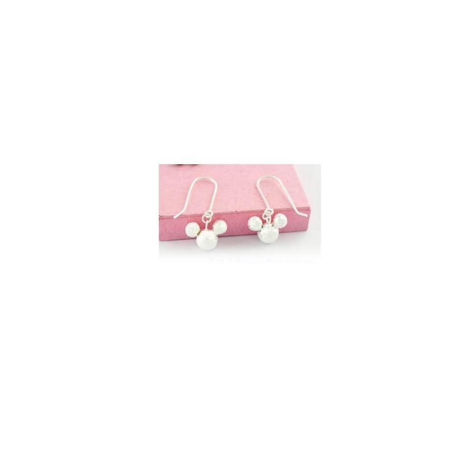 Disney Mickey 925 Sterling Silver Dangle Earrings Pair