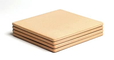 "Pizzacraft PC0103 7.5"" Square Cordierite Mini Baking/Pizza Stones, Set of 4"