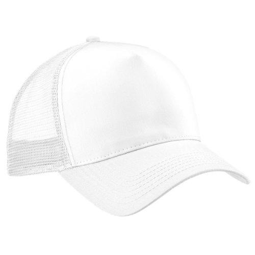 Beechfield Herren Baseballkappe Mesh Trucker (Einheitsgröße) (Weiß/Weiß) one size,Weiß/Weiß
