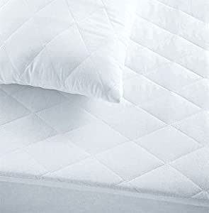 White King Size Bed Luxury Quilted Mattress Protector Cover, Fitted, Extra Deep 33cm Poly cotton from Linenstowelsquilts