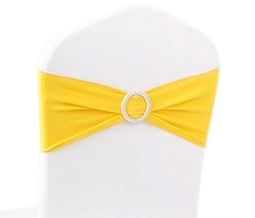 V-Dragons Stretch Chair Cover Band With Buckle Slider Sashes Bow Wedding Banquet Party Decorations (50, Yellow)