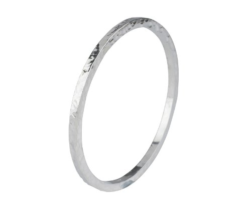 Silver Square Hammered Bangle