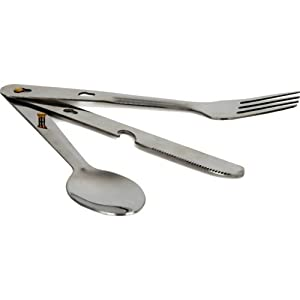Trail Stainless Steel Camping Cutlery Set (Pack of 3) - Metallic