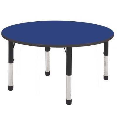 Ecr4kids 48 round activity table standard legs w ball glides oak top black edge general general - Table glides for legs ...