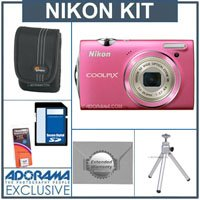 Nikon Coolpix S5100 Digital Camera Kit - Pink - with 8GB SD Memory Card, Camera Case, Table Top Tripod, Spare Rechargeable Li-ion Battery EN-EL10, 2 Year Extended Service Coverage