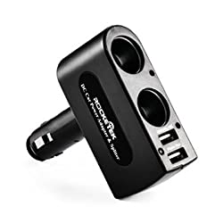 Rocketek Car Charger with 2 USB ports and 2 sockets car splitter adapter, Support Apple & Sumsung, Motorola, HTC and more cell phone and tablet usb car charger- DC12V/24V usb car adapter - 3A/15W dual usb car charger+2 socket car splitter