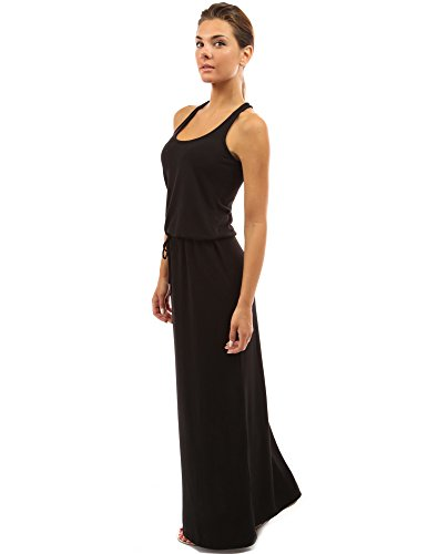 PattyBoutik Women's Drawstring Waist Maxi Dress (Black 16)