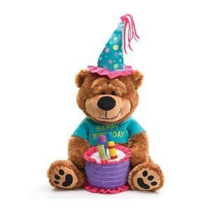 Adorable Plush Bear With Cake That Plays